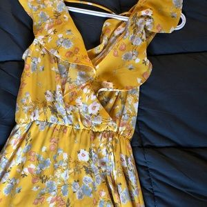 Yellow floral float dress